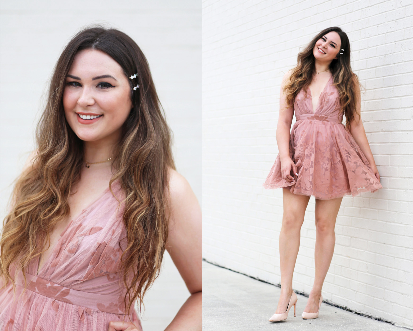 how-to-elevate-curled-hair | Mash Elle beauty blogger | Nexxus Hair Care | hairstyle ideas | pink lace dress
