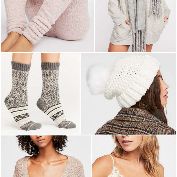 Cozy Free People clothing cold weather fashion for her fall beanie scarf leggings nude colors