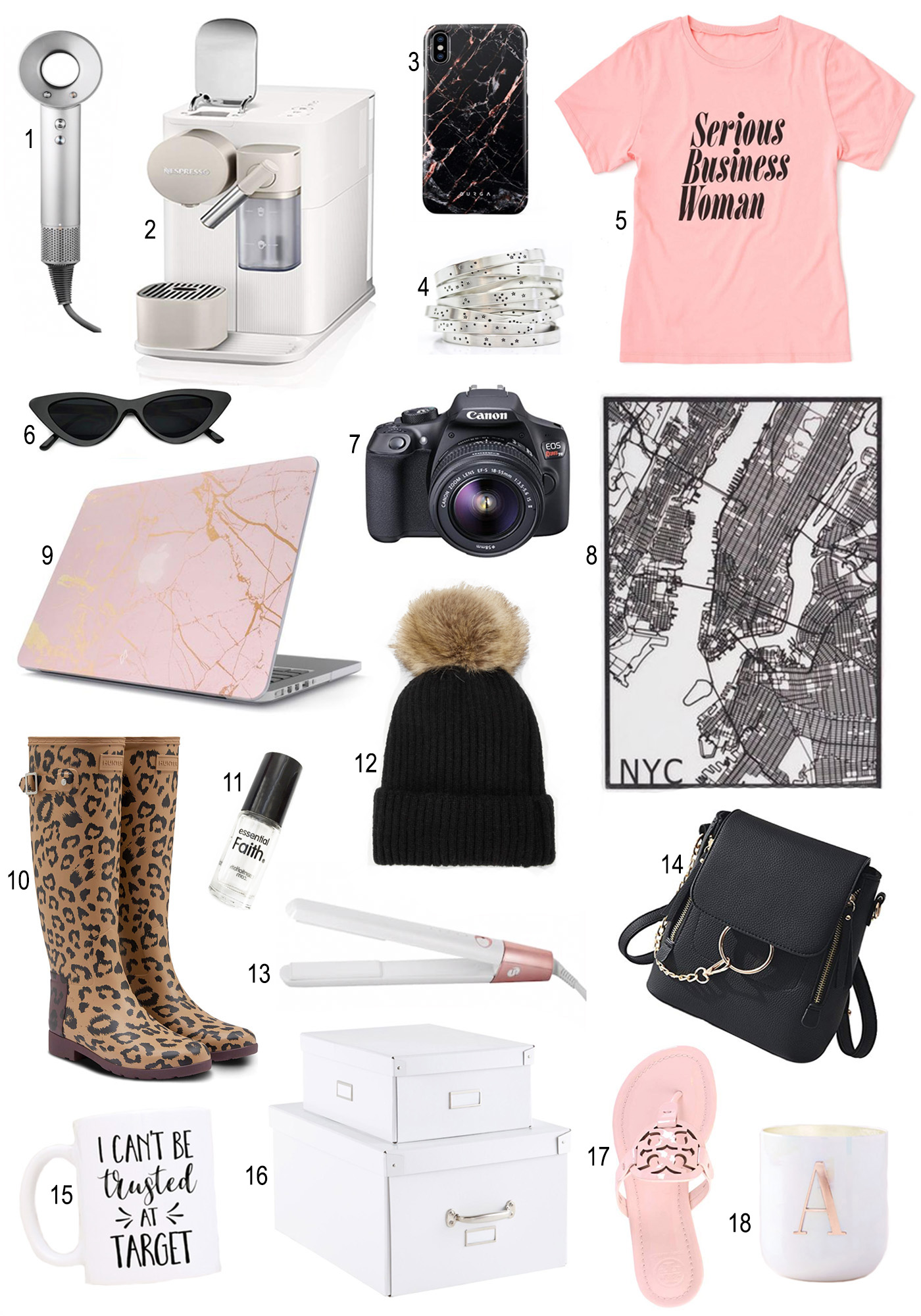 Mash Elle Gift Guide 2018 | Christmas Gifts | Holiday Gift Ideas | coffee press | black purse | rain boots | marble laptop cover