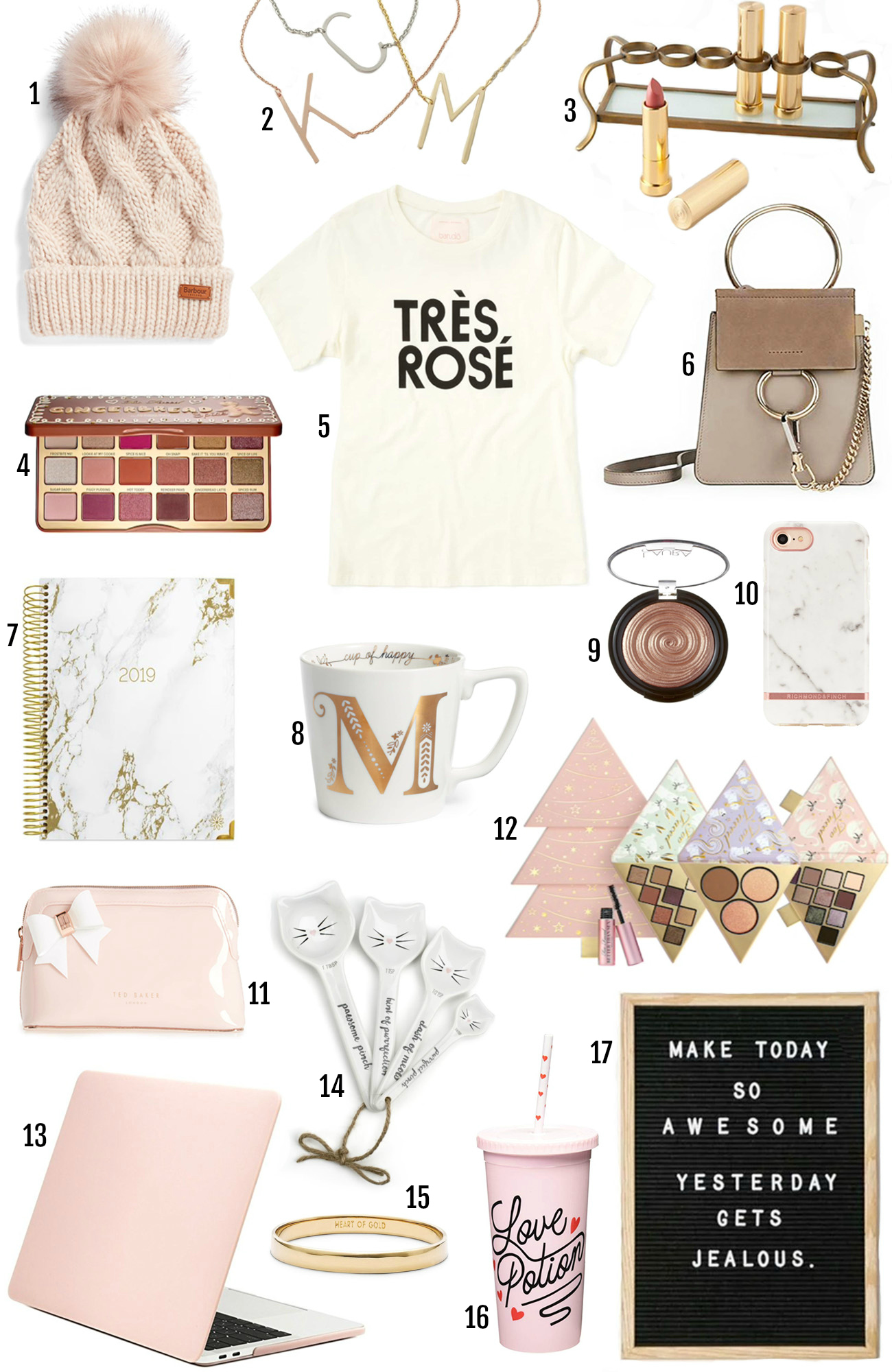 Best gifts for her | Christmas gifts | gift guide | pink gifts | gold presents