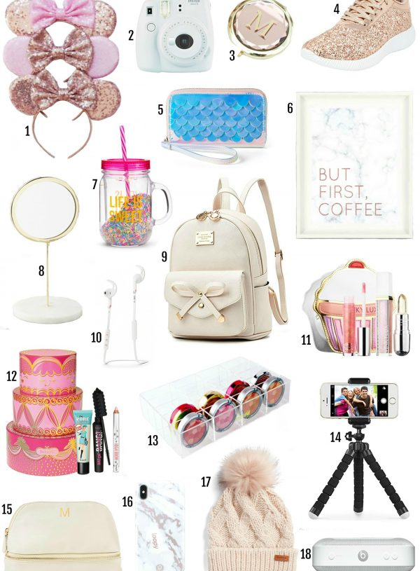 Mash Elle beauty blogger gift ideas | gifts for teenagers | teen gifts | preteen gifts | rose gold minnie ears | coffee print