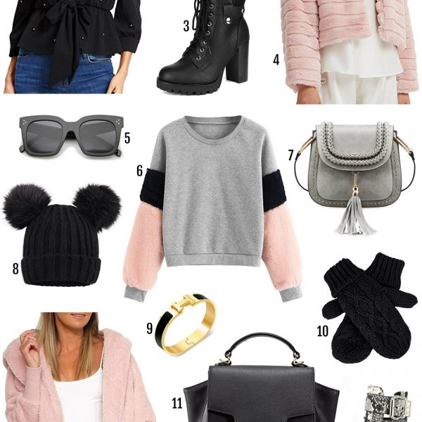 Beauty blogger Mash Elle | Amazon winter fashion finds | what's hot on Amazon this winter | pom pom beanie | boots | checkered clutch | pink sunglasses |