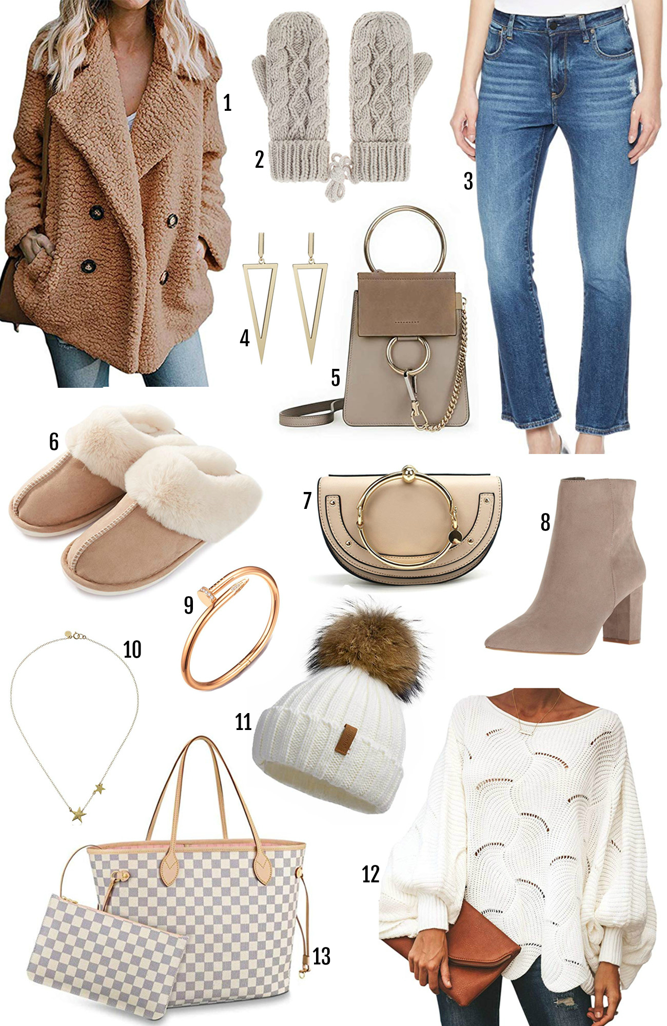 Beauty blogger Mash Elle | Amazon winter fashion finds | what's hot on Amazon this winter | pom pom beanie | neutral mittens| gold jewelry | blue jeans |