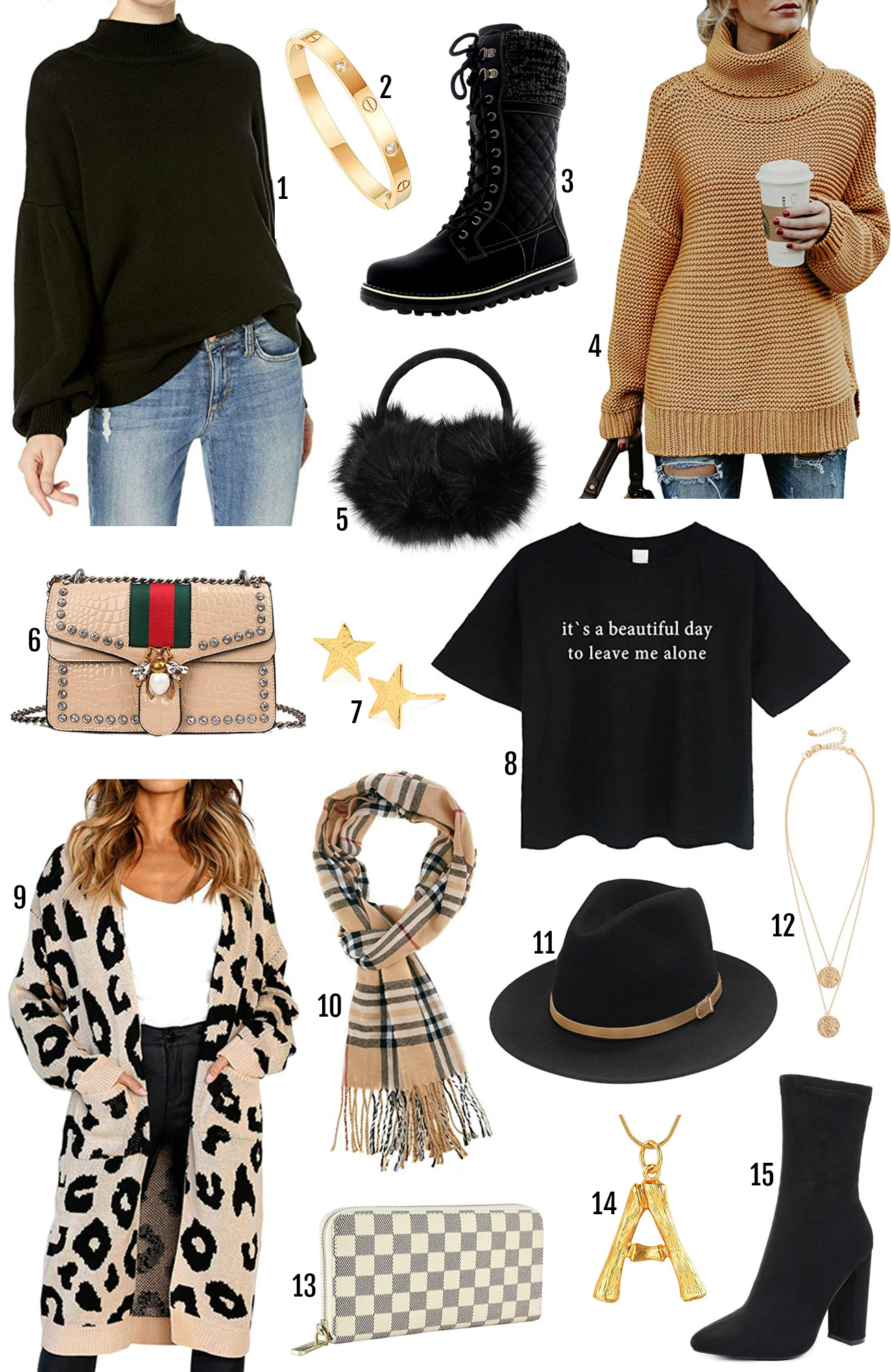 Beauty blogger Mash Elle | Amazon winter fashion finds | what's hot on Amazon this winter | black ear muffs | boots | checkered clutch | animal print cardigan |