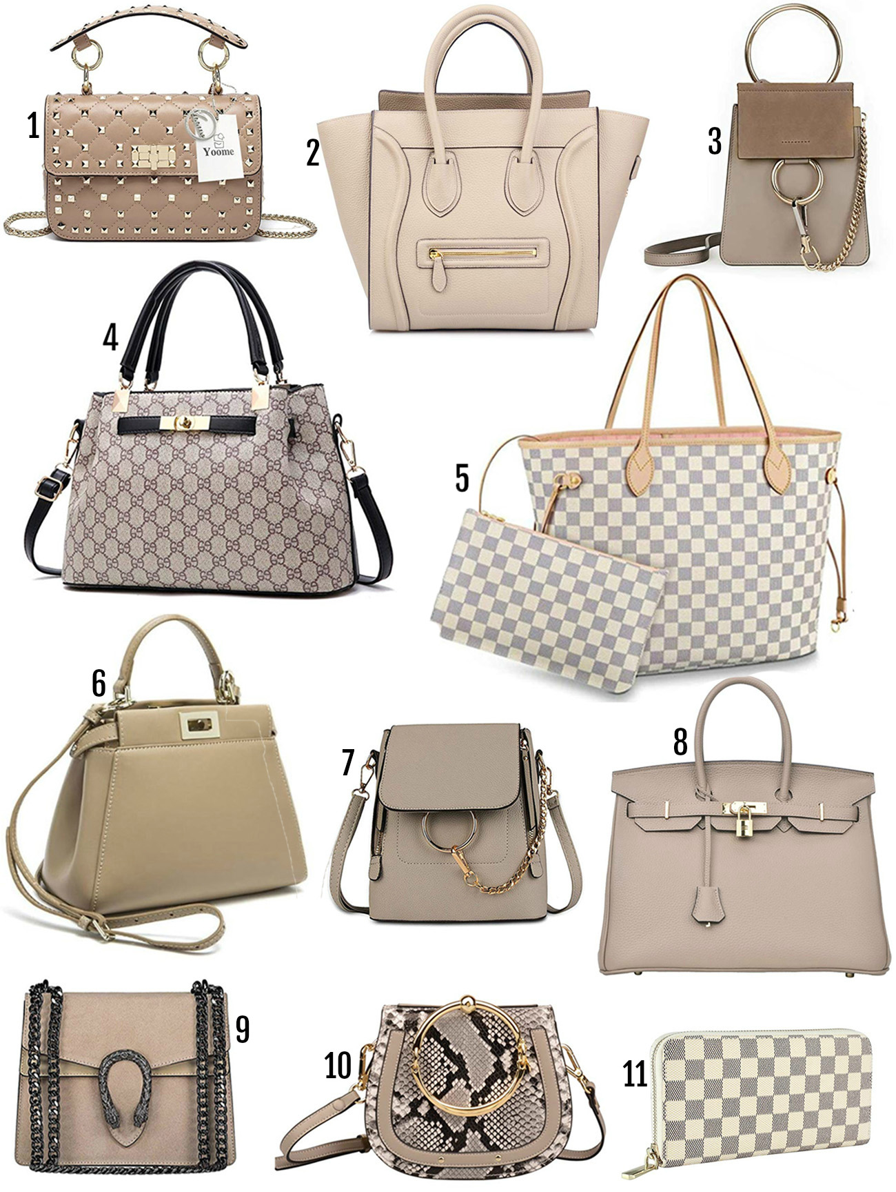 Mash Elle beauty blogger designer bag dupe | Amazon prime bags | bags that look designer | fake designer bags | Mash Elle gucci | tan taupe purse