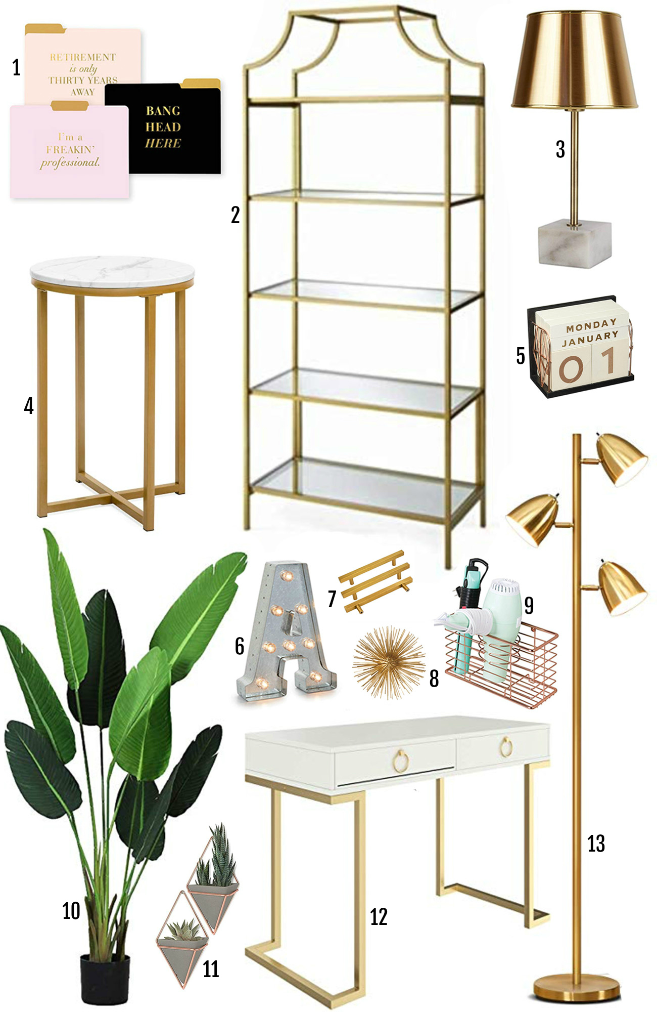 Amazon Prime affordable home decor finds | gold home decor | Amazon Prime | plants | gold table | gold lamp| Mash Elle lifestyle blogger