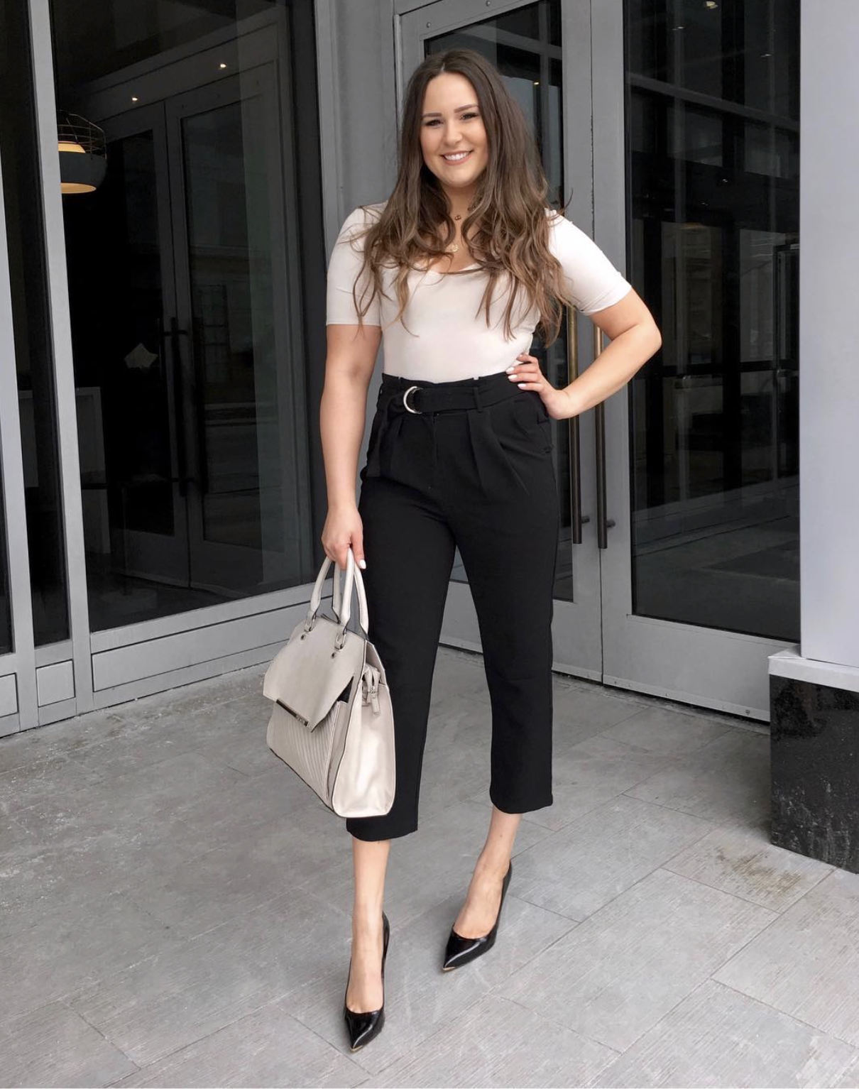 Mash Elle beauty blogger | winter to spring outfit | winter fashion | spring fashion |work outfits | heels | nude shirt