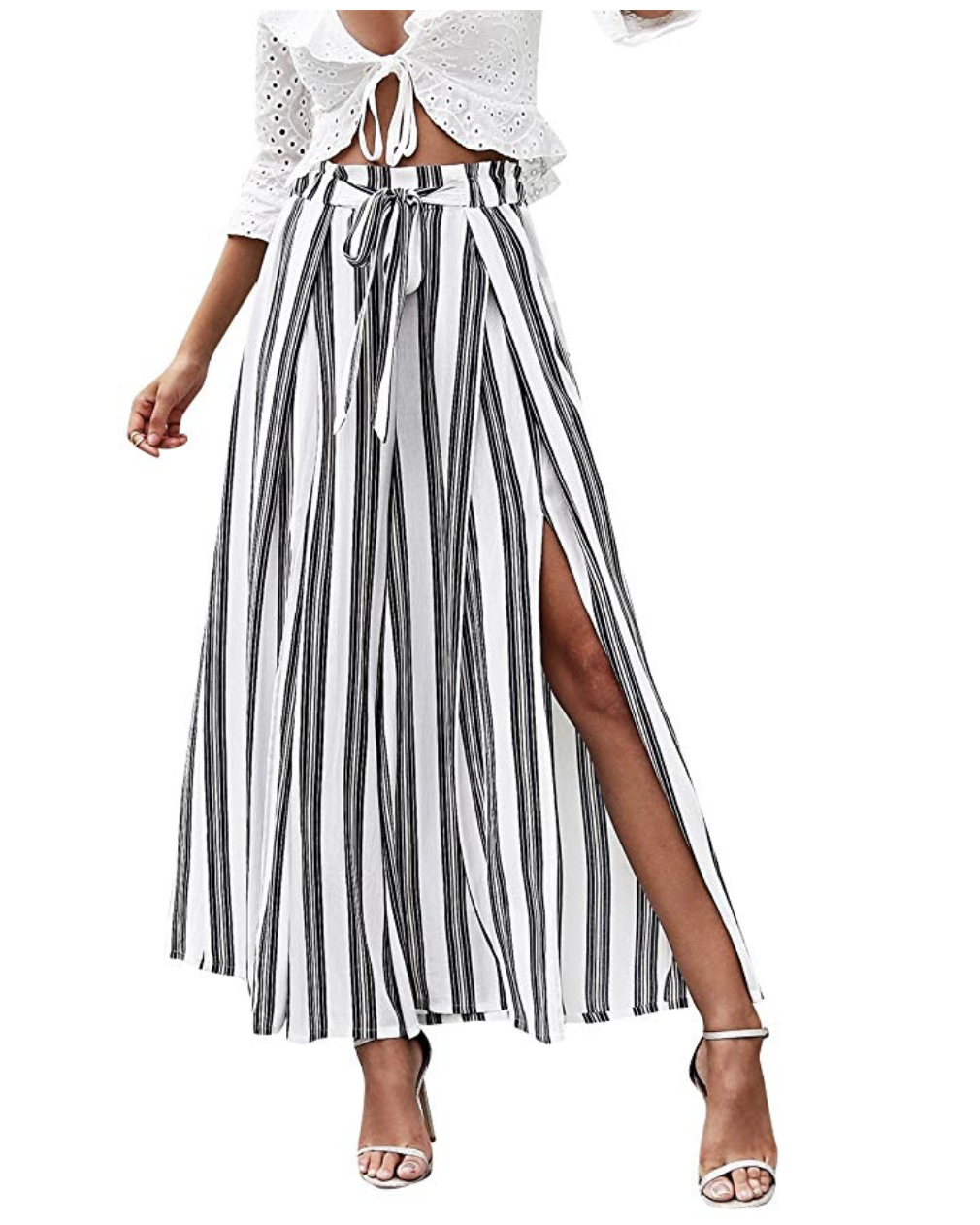 Amazon shopping ideas | Amazon sale | Amazon spring fashion | spring clothing | slit skirt | black and white skirt | stripe skirt