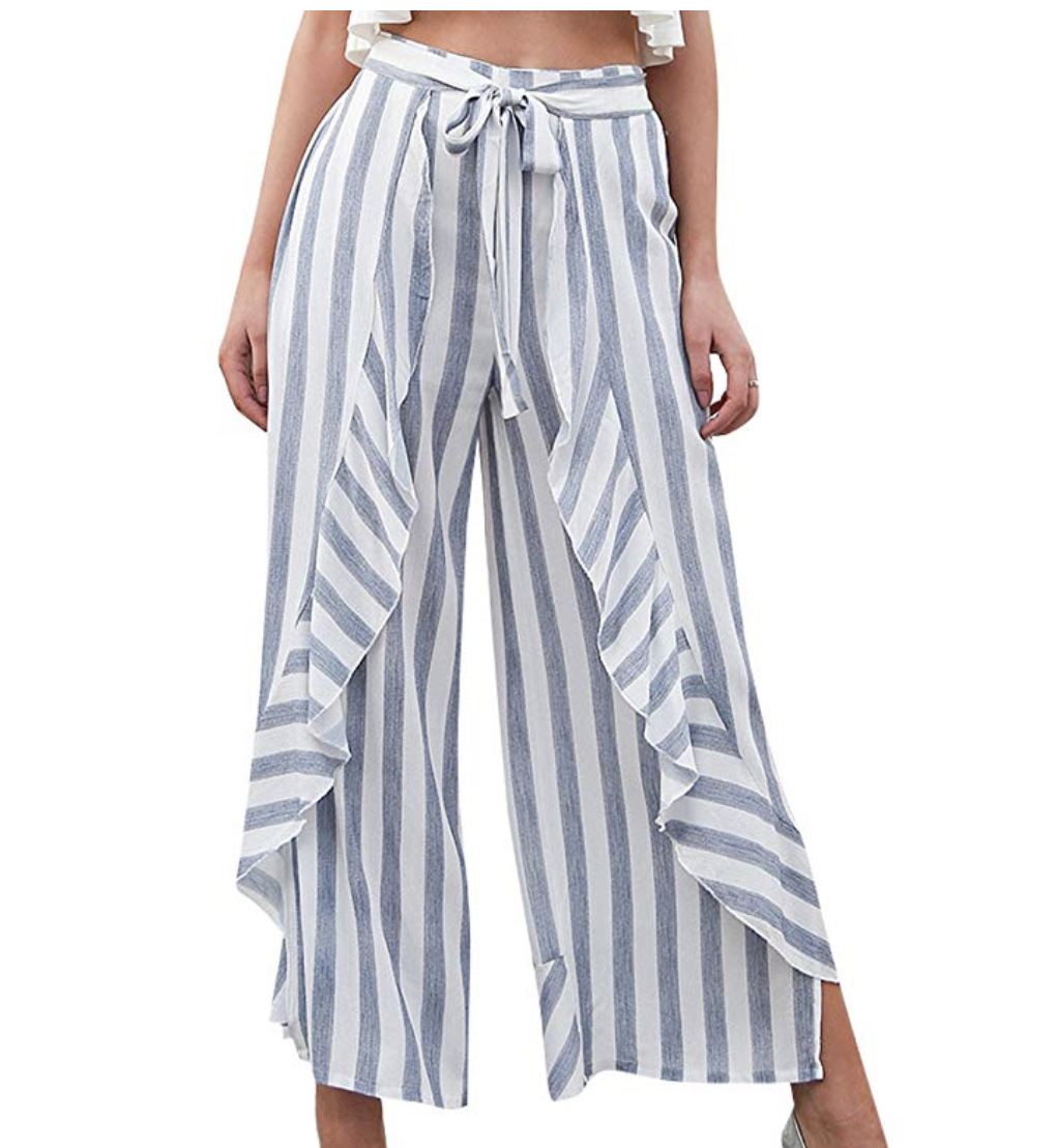 Amazon shopping ideas | Amazon sale | Amazon spring fashion | spring clothing | high waisted pants | striped palazo pants