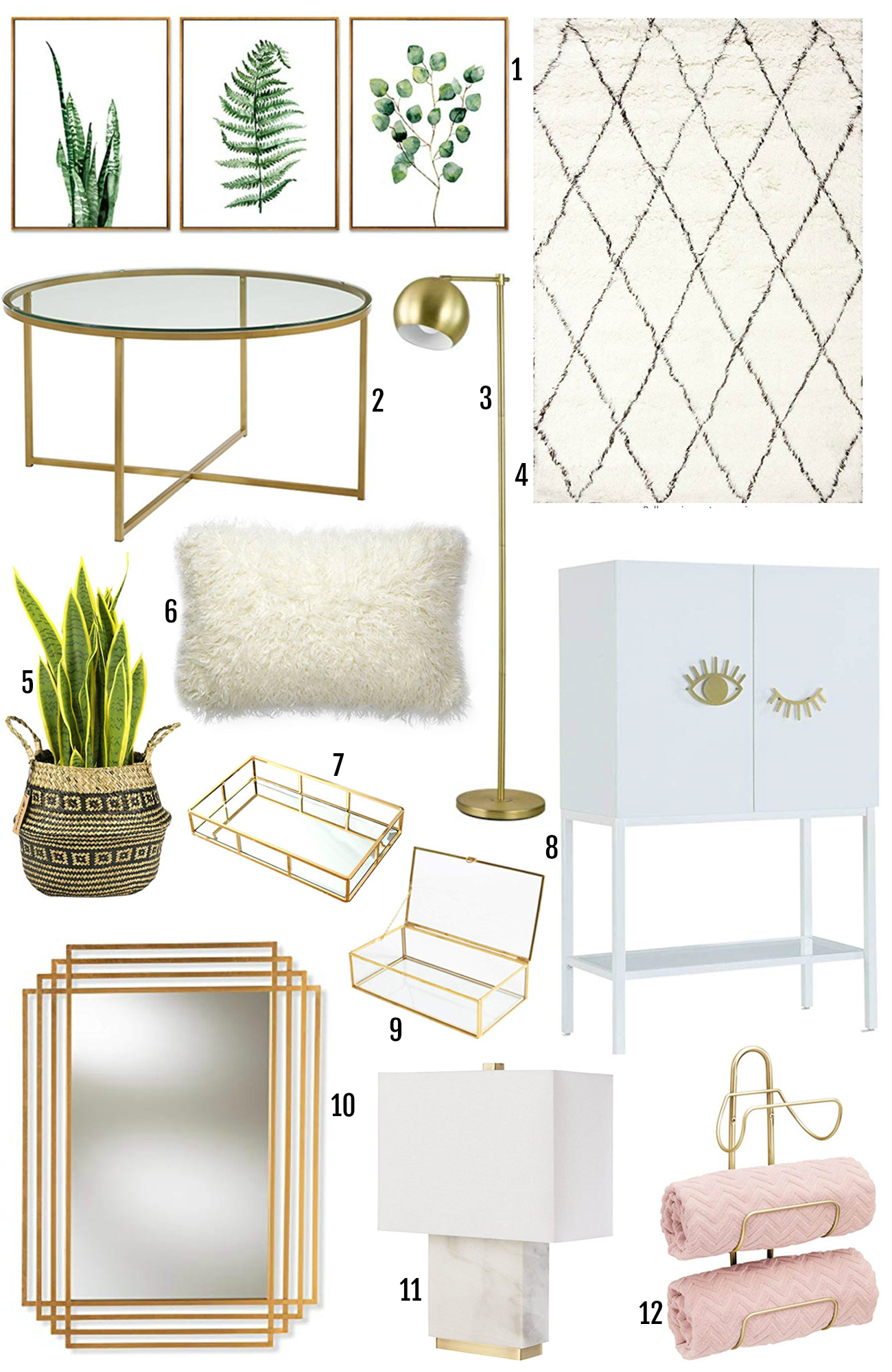 Amazon Prime affordable home decor finds | gold home decor | Amazon Prime | plants | gold table | gold mirror