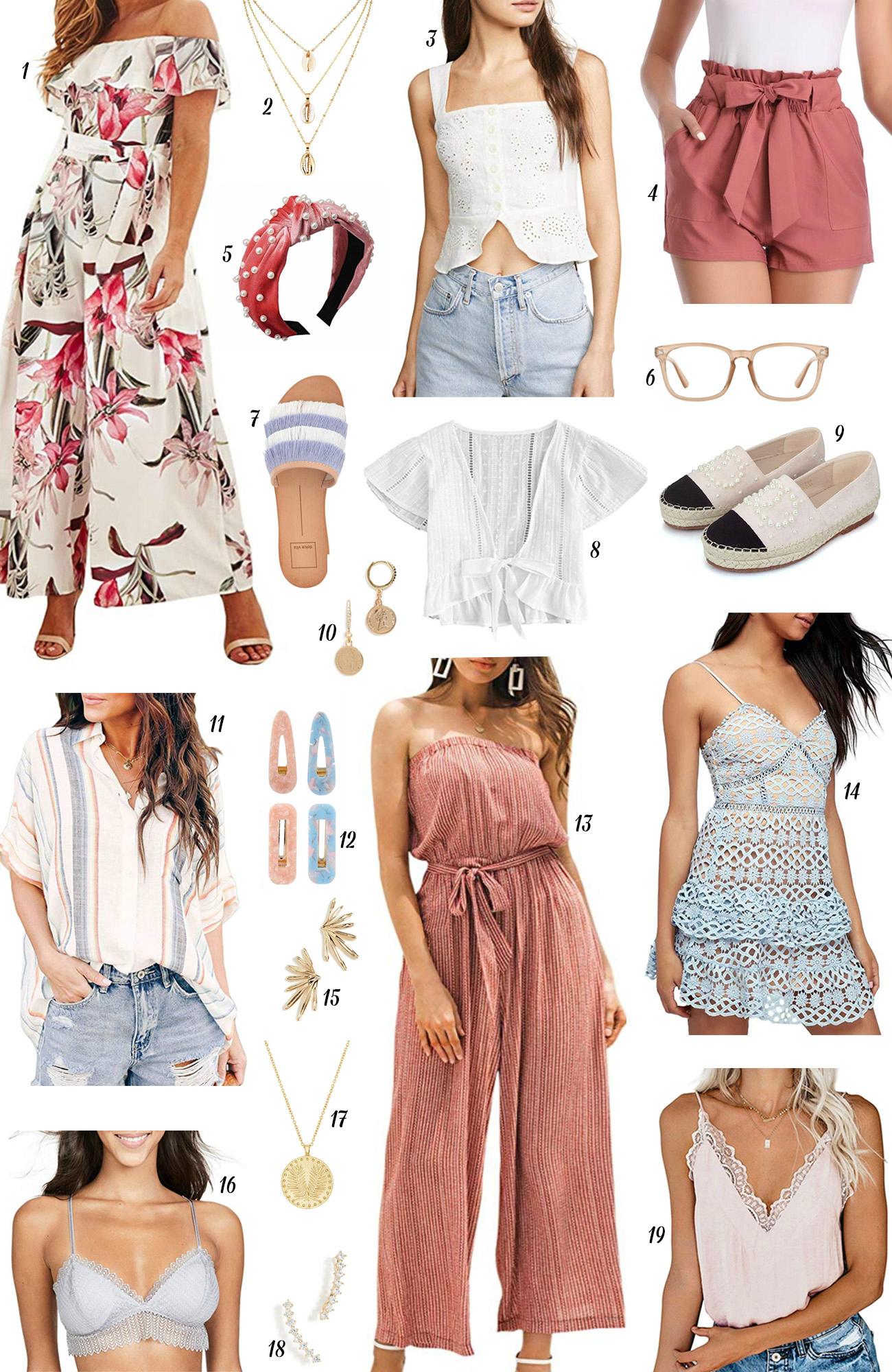 Mash Elle style fashion blogger | shell pendant | jumpsuit | nude glasses | sandals | pearl headband