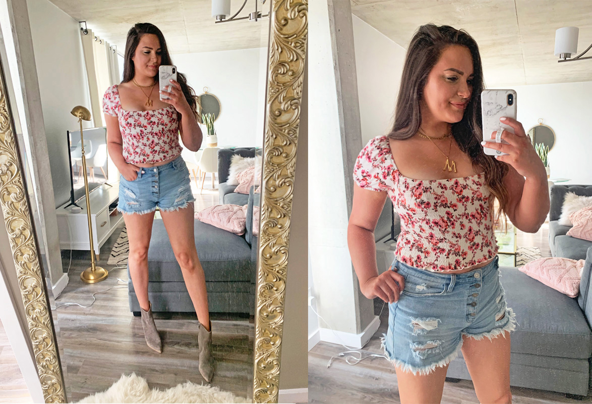 Mash Elle style fashion blogger   what to wear in hot weather   cute summer outfits  outfits that keep you cool   summer style   off the shoulder top   shorts   beat the heat