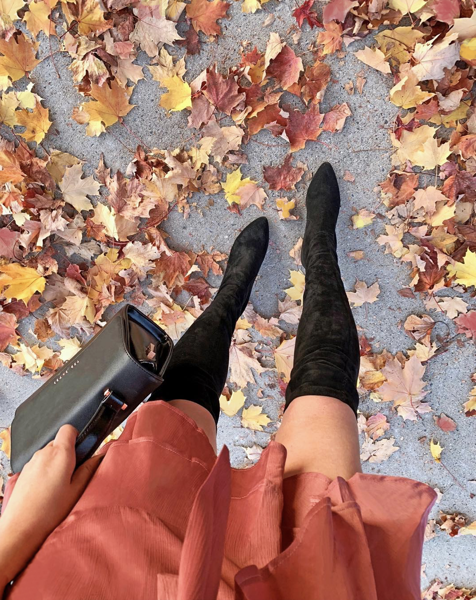 OTK boots | fall boots | where to buy fall boots | fall fashion | orange dress | fall leaves | autumn | Mash Elle
