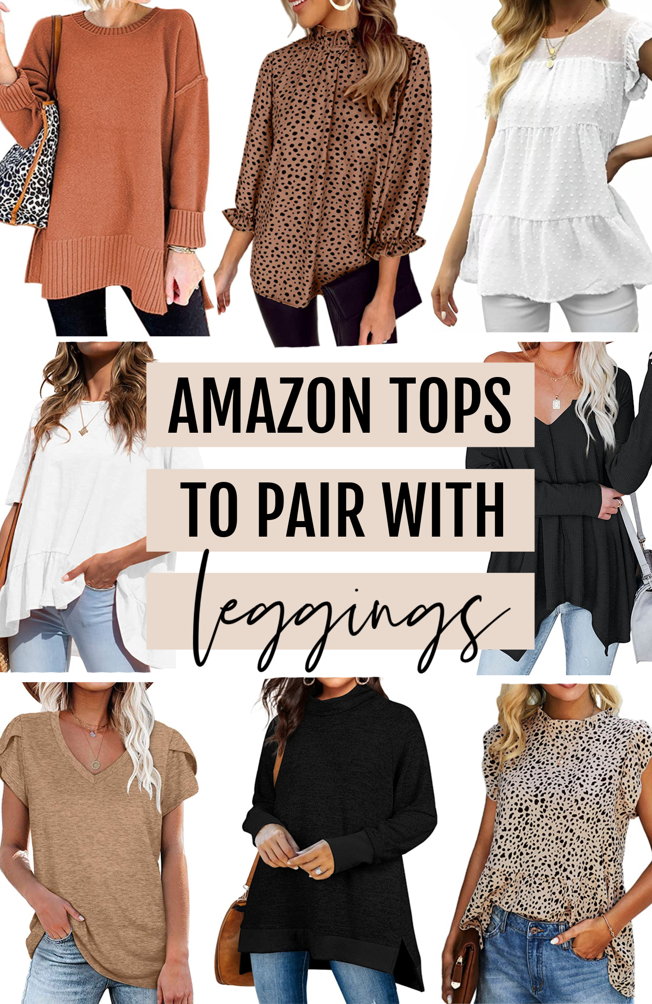 Amazon tops to wear with leggings, tunics to wear with leggings, Mash Elle fashion blogger Michelle Kehoe